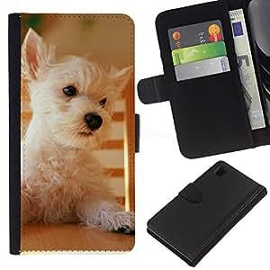 EJOY---La carpeta del tirón la caja de cuero de alta calidad de la PU Caso protector / Sony Xperia Z1 L39 / --Terrier de mojón de Australia Norfolk perro del oeste
