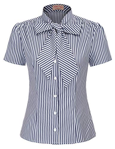 Belle Poque Button Down Blouse Navy Stripe Office Shirt XL BP573-2
