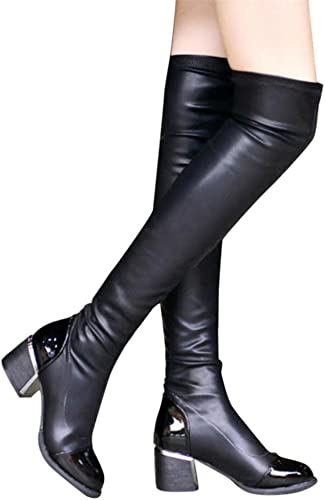 Damen Schuhe Dasongff Damen Stiefel Mode Leder Overknee Schlupfstiefel Frauen Boots Schnalle Square Schuhe Toe Elastic Stretch Starke Ferse Langschaft