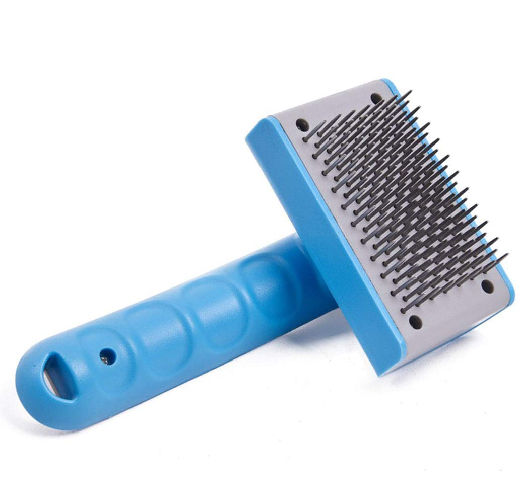 Pet Grooming Brush Self Cleaning Slicker Brush bluee Shedding Tool for Dogs and Cats with Medium and Long Hair Fur