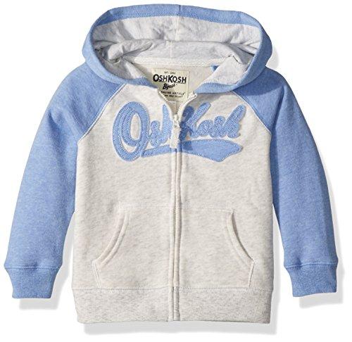 Toddler Full Zip Hoodie (OshKosh B'Gosh Osh Kosh Toddler Girls' Full Zip Logo Hoodie, Blue/Ivory, 4T)