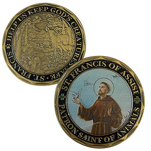 ST. FRANCIS OF ASSISI - Patron Saint of Animals -Commemorative Coin - Cast and Colorized with Beautiful Iron Plating & Ancient Bronze. Stunning Original one-of-a-Kind Catholic Church Patron Saint of A from Aizics Mint