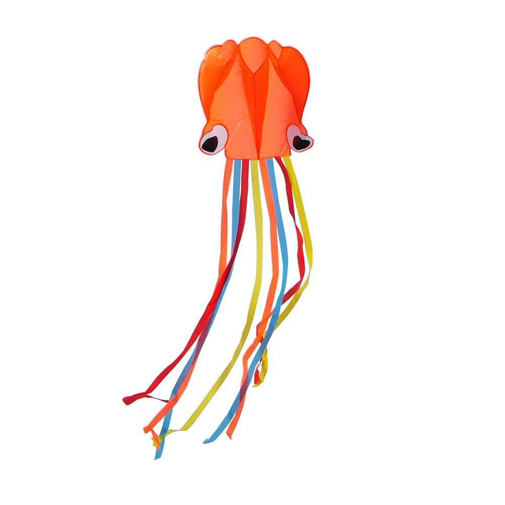 CELEMOON Large Easy Flyer Mollusc Octopus Kite for Kids and Children Outdoor Toys Games Activities, Foldable 31 Inches Wide with Long Tail 157 Inches Long, Including TWO 100 ft strings, Orange