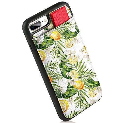 iPhone 7 Plus Wallet Case, LAMEEKU iPhone 8 Plus Leather Case Lemon Leaf Design with Card Holder, Compatible for iPhone 8 Plus/iPhone 7 Plus 5.5''- Lemon Leaf