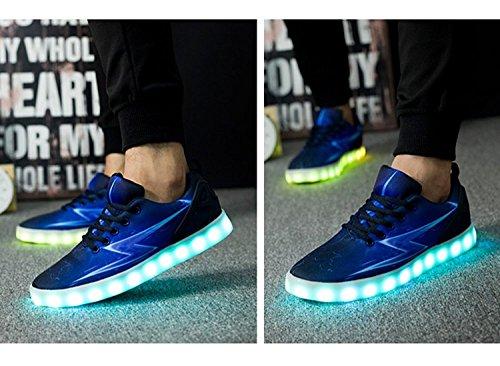Led Light Up Casual Hombres Zapatos Moda Hombre Luminous Zapatos Usb Recargable Para Adult Blue