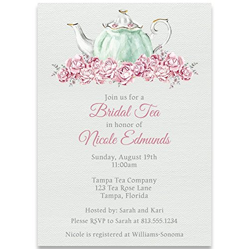 Bridal Shower Invitations Bridal Tea White Mint Pink Tea Party Wedding Shower Invite Set of 10 Custom Printed Invitations with Envelopes