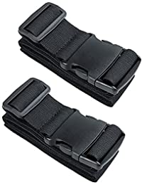 Heavy Duty Baggage with Luggage Belt Safety Belt Adjustable Travel Case Accessories (Black-2 pack)