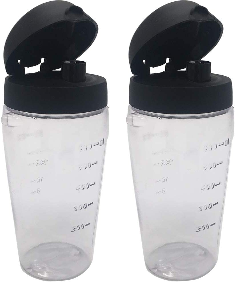 Joystar 2 piece Blender Smoothie bottle cup with lid for Oster Blender Blend-N-Go Smoothie blender or Cup for Oster Classic Series blenders(2, PETG)