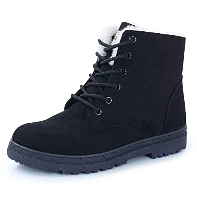 CIOR Fantiny Women s Snow Boots Winter Warm Suede Lace up Snearkers Fashion  Flat Platform Shoes 442870cd9