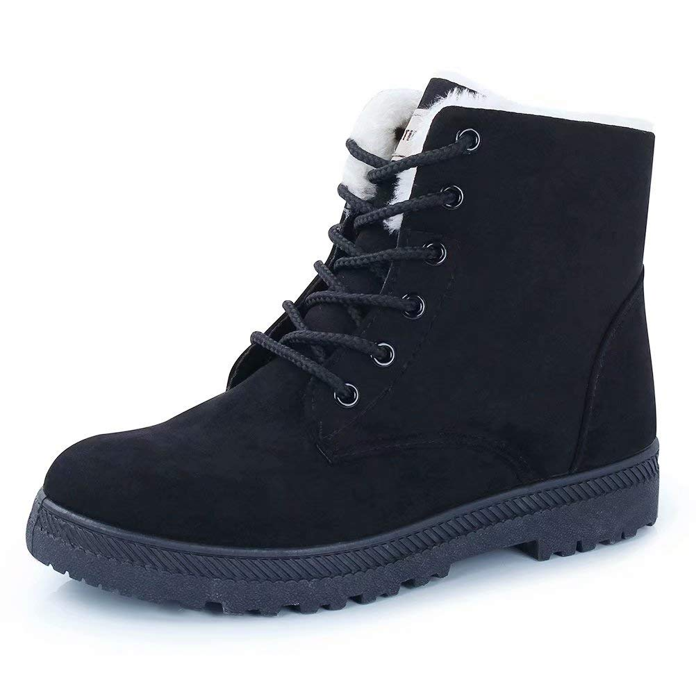 CIOR Fantiny Women's Snow Boots Winter Warm Suede Lace up Snearkers Fashion Flat Platform Shoes,NX01,Black,41,2018