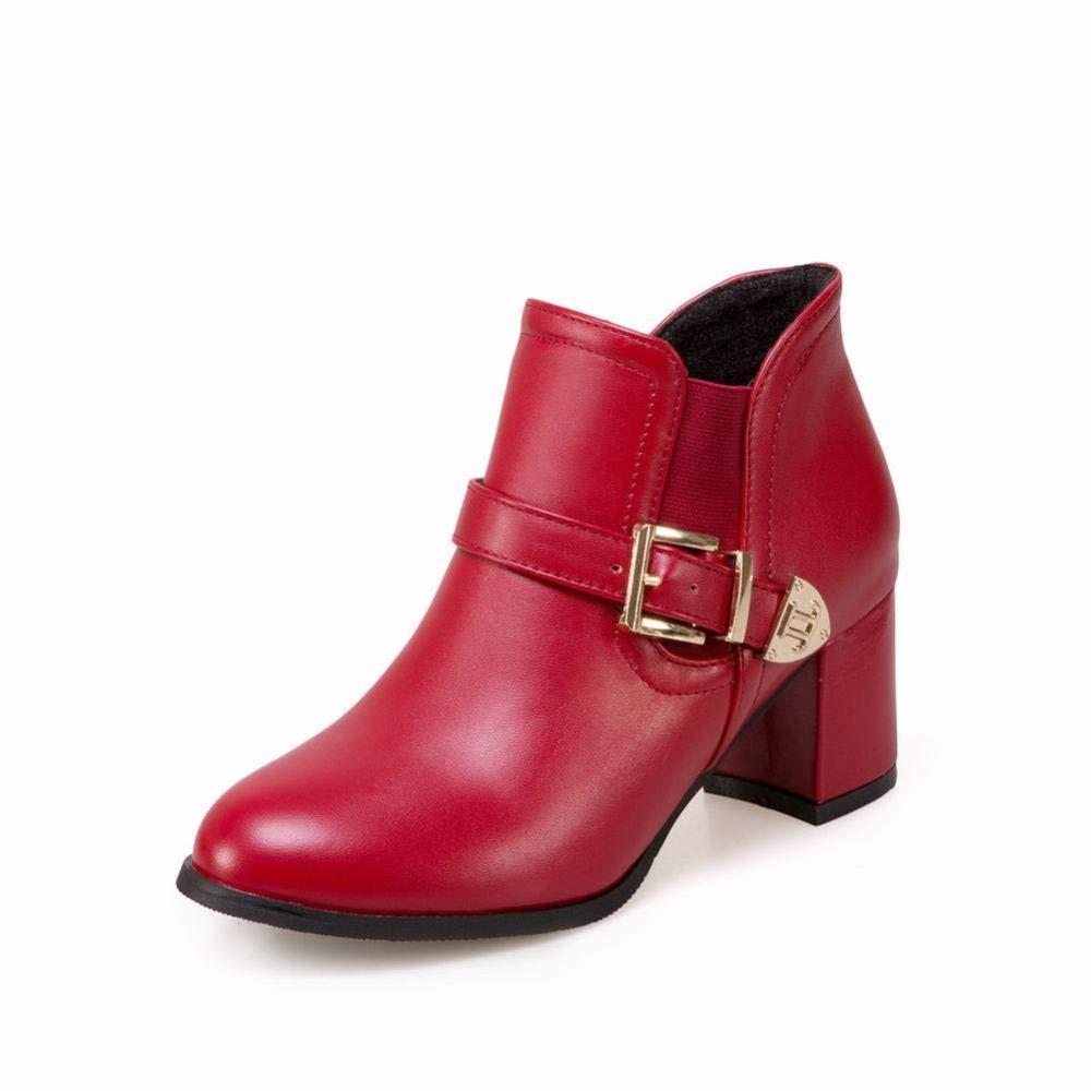ZHRUI Damenschuhe - Frühling und und und Herbst mit Martin Stiefeln Stiefelies British Wind - Einzelstiefel Seitlicher Reißverschluss 36-43 (Farbe   Rot Größe   43) 73ef05
