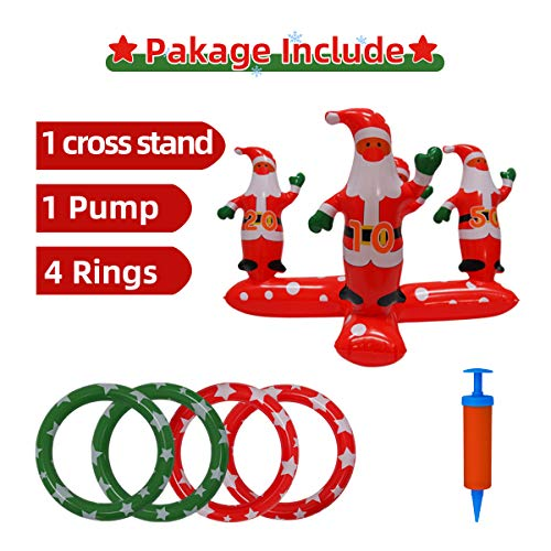 YHSBUY Inflatable Santa Claus Ring Toss Games Set with 4 Ring Winter Holiday Toys Christmas Party Game Family Indoor Outdoor Game Include Handle Pump