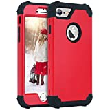 iPhone 6 Case, iPhone 6S Case,iPhone 6 Phone Case, BENTOBEN Slim 3 Layers Hybrid Hard PC Back Soft Silicone Bumper Heavy Duty Rugged Rubber Drop Proof Anti-slip Full Body Protective Phone Girls Women Cases for Apple iPhone 6/6S (4.7 inch) Smartphone,Red & Black