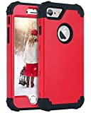 iPhone 6S Case, iPhone 6 Case, BENTOBEN 3 in 1 Hybrid Hard PC Soft Rubber Heavy Duty Rugged Bumper Shockproof Anti Slip Full-Body Protective Phone Case for 4.7 Inch Apple iPhone 6S/6, Black/Red