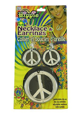 Hippie Peace Sign Necklace And Earrings (Hippie Peace Sign Necklace and Earrings One-Size in Silver)