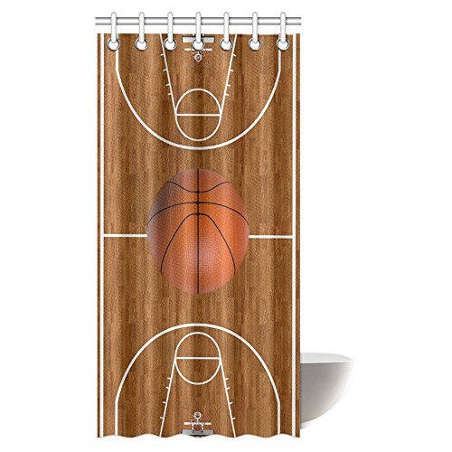 (InterestPrint Sports Decor Shower Curtain, Basketball Court Playtime Childrens Wood Print Fabric Bathroom Shower Curtain Set with Hooks, 36 X 72 Inches)