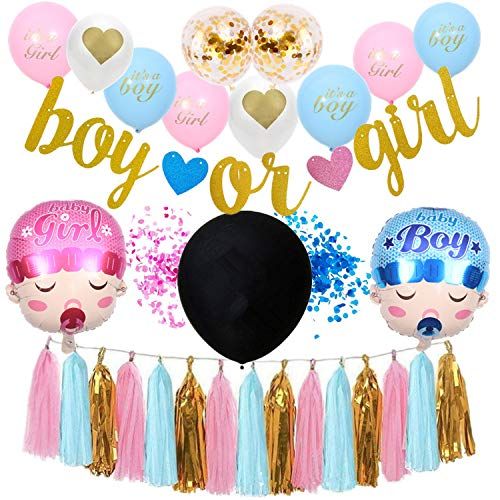 Gender Reveal Party Supplies | Baby Shower Decorating Set | Boy or Girl Banner | Pink and Blue Confetti | Boy and Girl Balloons | Pink and Blue Balloons | Pink and Blue Tassels | Giant Balloon | Special Decorations Baby Shower -