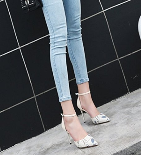 MDRW-Lady/Elegante/Trabajo/Ocio/Muelle Cabeza Afilada Una Palabra De La Hebilla Talón Fino 9 5 Cm Los Talones La Moda Solo Los Zapatos Zapatos De Mujer Beige 36 37