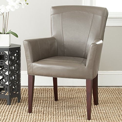 Bicast Leather Arm Dining Chairs - Safavieh  MCR4710B Dale Arm Chair Accent Chairs (Clay)