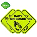 Baby on Board Cute Magnetic Sign for Car Strong All Weather | Diamond Ultra Reflective for Safety | Perfect New Parent Baby Shower Gift