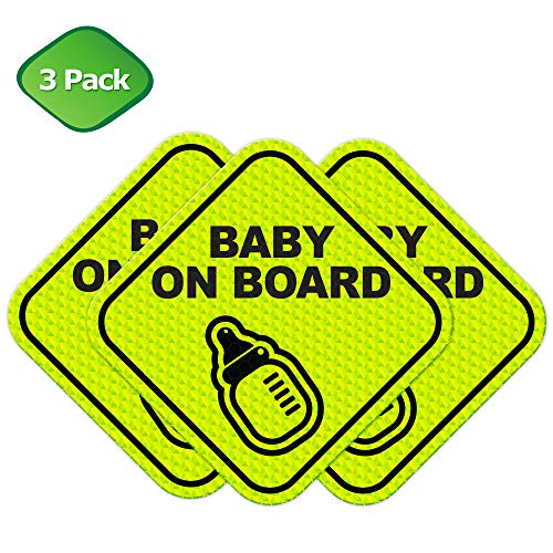Baby on Board Cute Magnetic Sign for Car Strong All Weather | Diamond Ultra Reflective for Safety | Perfect Parent Pack Baby Shower Gift 3 Pack