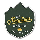 NI380 **2-Pack** The Mountains Are Calling Sticker/Decal | Premium Quality Vinyl Sticker | 4-Inches by 3.5-Inches