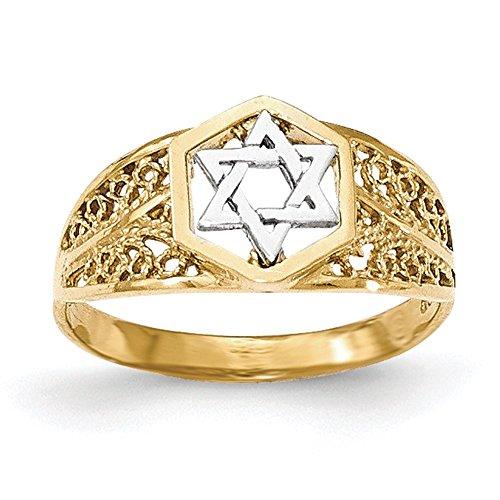 Lex & Lu 14k Two-tone Gold Polished Star of David Ring-Prime