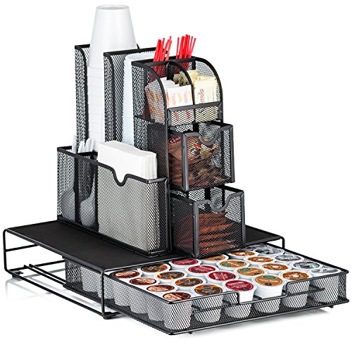 Halter All In One Mesh Coffee Organizer Accessory Bundle - Condiment Caddy Organizer and Heat Resistant Coffee Pod Drawer