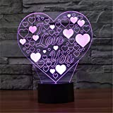 Christmas Valentine Wedding And Birthday Gifts 3D Table Touch Lamp 7 Colorful Color Changing Night Light for Children and Kids I love you