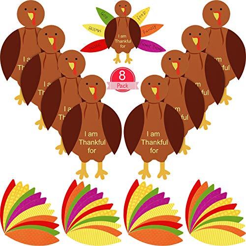 56 Pieces Thanksgiving Turkey Craft Kits DIY Turkey Thanksgiving Party School Activities Decoration Supplies, Makes Up to 8 Turkeys