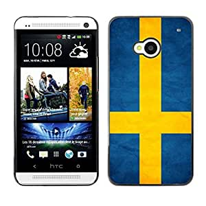 Shell-Star ( National Flag Series-Sweden ) Snap On Hard Protective Case For HTC One (M7)