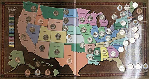 2010 P - 2019 National Park Quarters Includes Beautiful Map Holder Uncirculated