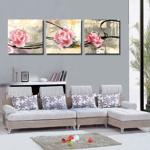 Mon Art Gorgeous Pink Flower Canvas Art Print Wall Art Home Decor 40*40cm x3(UnStretched and UnFramed)