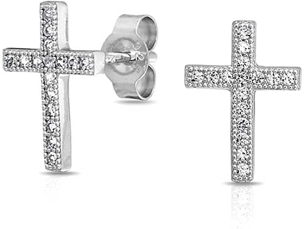Cruz Comunión Religiosa CZ Micro Pave Pendiente De Boton Para Mujer Y Para Los Hombres Adolescentes Zirconia Cúbico 925