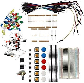 Kit de Inicio electrónico Resistor Zumbador Breadboard LED Cable ...