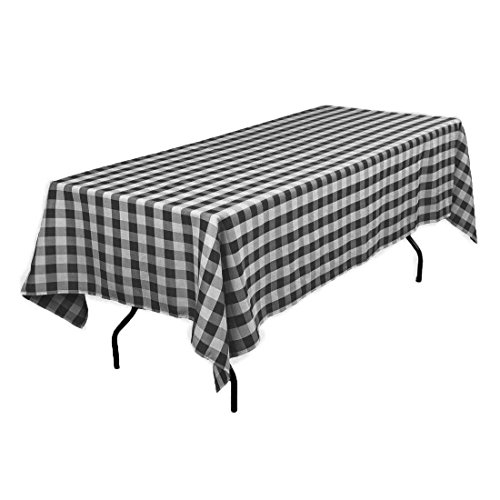 GFCC 60x102-Inch Rectangular Polyester Tablecloth Checker,Black and White by GFCC (Image #6)
