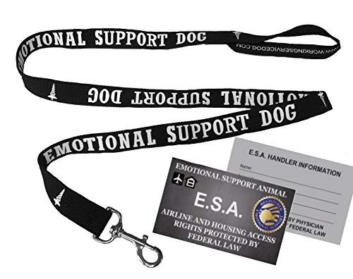 WORKINGSERVICEDOG.COM Emotional Support Dog Leash - Great Identification with or Without an Emotional Support Animal Vest. Includes ESA Handout Card