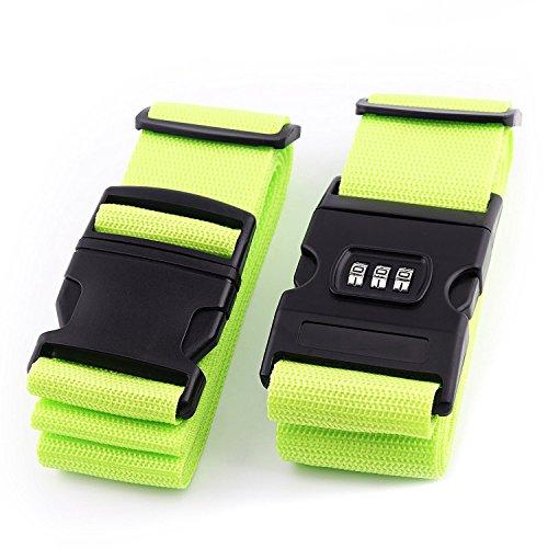 - BENCARDO Luggage Straps 2 Pack Fluorescence Color Adjustable Suitcase Security Travel Belt With digital lock, Tags Pocket