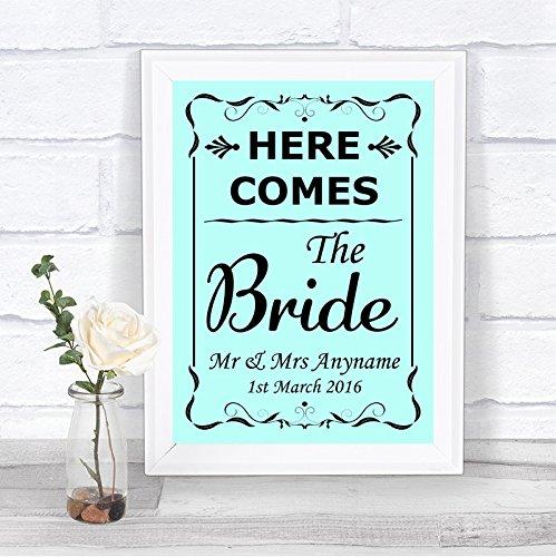 Amazon.com: Aqua aquí viene la novia signo de bodas ...