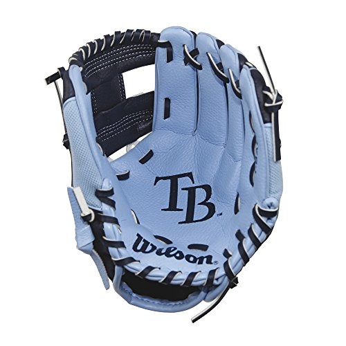 """Wilson A200 10"""" Tampa Bay Rays Glove Right Hand Throw, Columbia Blue/Navy"""