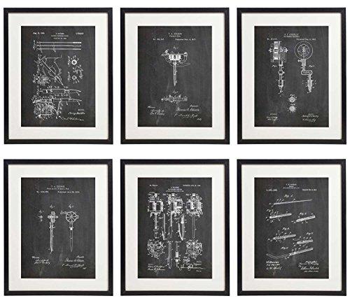 (IDIOPIX Tattoo Patent Wall Decor Chalkboard Art Print Set of 6 Prints UNFRAMED)