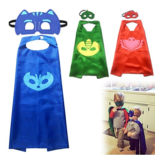 [Happytime Superhero Cape and Mask Dress Up Costumes Catboy Owlette Gekko Mask For Kids Toddlers (Cartoon Costumes] (Toddler 80s Costumes)