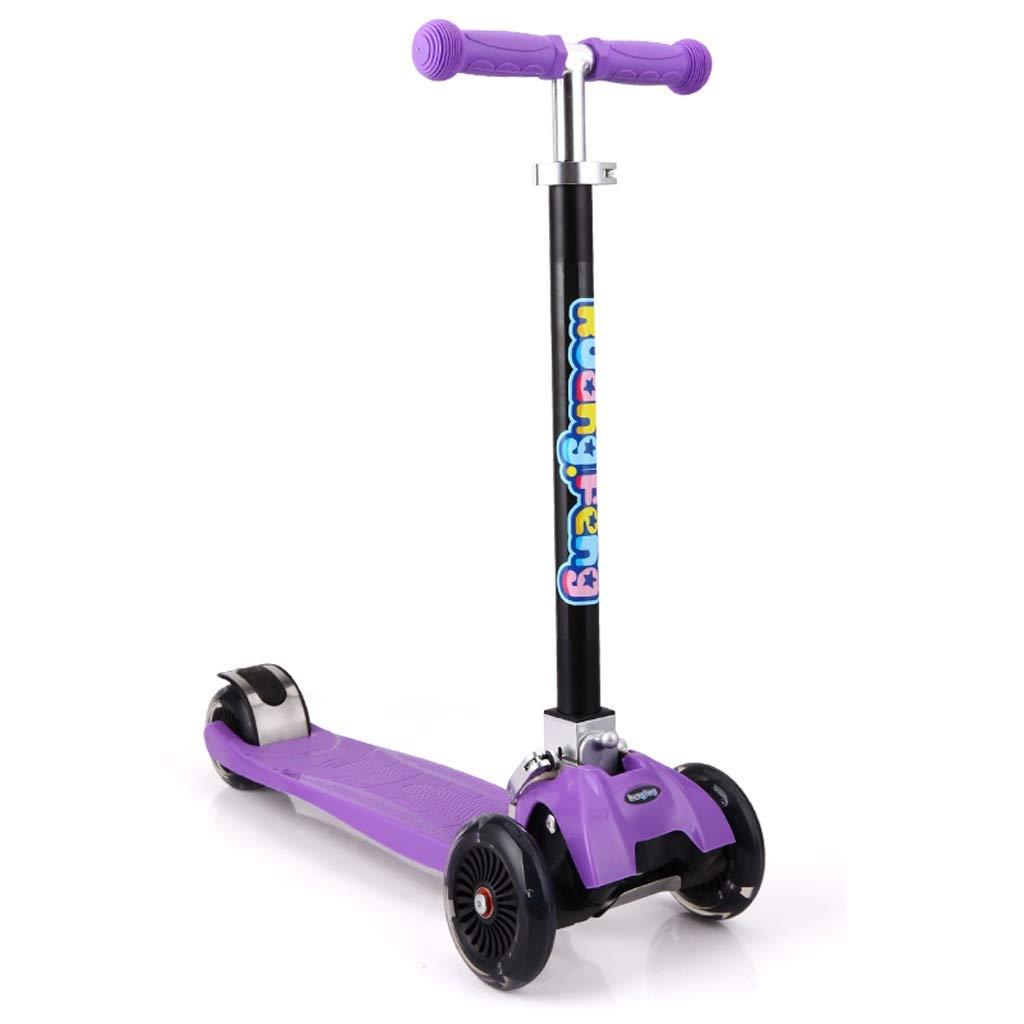 XUEYING-KickScooter Roller Kinder Dreirad faltender Roller Vierrad Roller Kinderwagen (Farbe   lila) lila