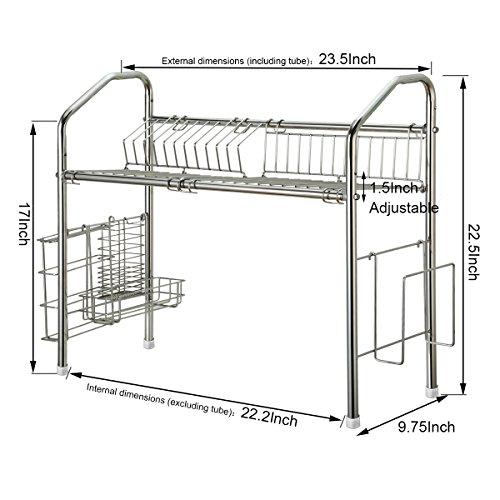 1208S Dish Dryer Rack Stainless Steel Sink Storage Shelf Flexible Kitchen Cutlery Holder
