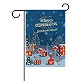 SINOVAL Christmas Village Double-Sided Polyester House Home Funky Flag Banner for Party Home Outdoor Decor 28x40 inch