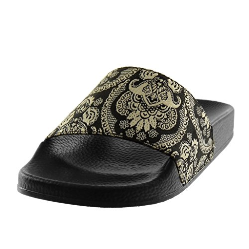 2 Femme Mode Sandale Brodé Talon Angkorly Mule Cm Noir Claquettes Chaussure Slip Plat Fantaisie on 05qnw71S
