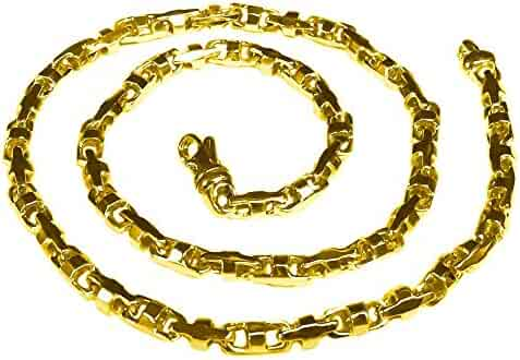 14K Solid Yellow Gold Heavy Anchor Bullet Link Chain Necklace 6.5 Mm 18