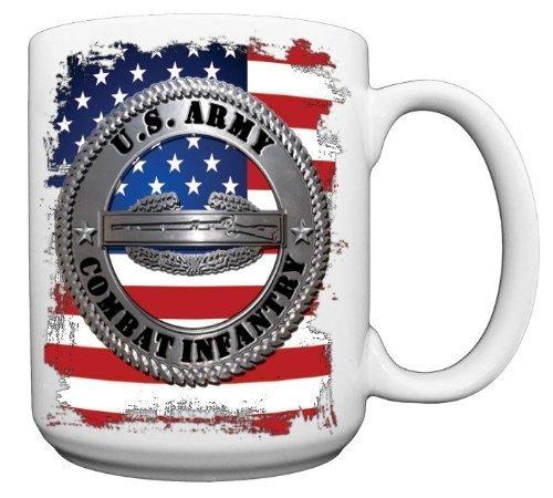 US Army Combat Infantry Silver Logo on Flag CERAMIC Coffee Mug from Redeye Laserworks