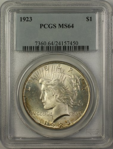 1923 Peace Silver Dollar Coin (ABR15-E) Light Toning Better Coin $1 MS-64 PCGS