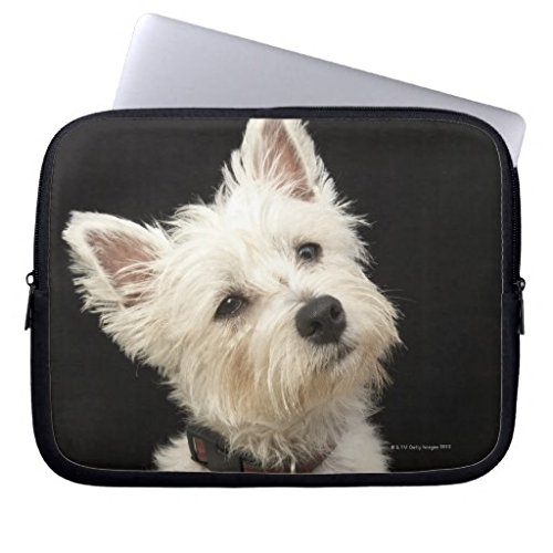 Christmas Gifts for Men 15-15.4 Inch Laptop Case for Women Westie West Highland Terrier with Collar Computer Sleeve Case Cover Soft Water Resistance Neoprene Laptop Sleeve for Macbook Air Both Sides -